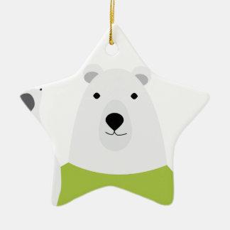 Polar Bear Waving Ceramic Star Ornament