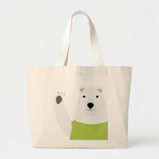 Polar Bear Waving Large Tote Bag