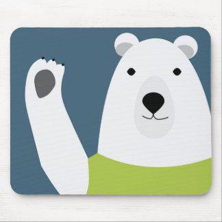 Polar Bear Waving Mouse Pad