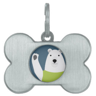 Polar Bear Waving Pet ID Tag