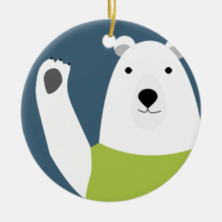 Polar Bear Waving Round Ceramic Ornament