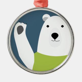 Polar Bear Waving Silver-Colored Round Ornament