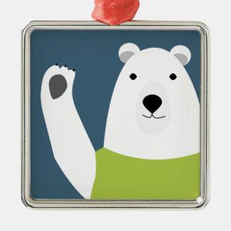 Polar Bear Waving Silver-Colored Square Ornament