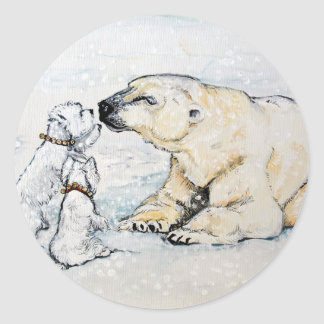 Polar Bear Westies Classic Round Sticker