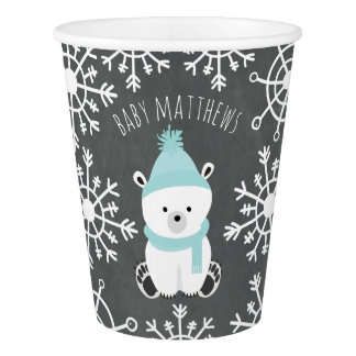 Polar Bear Winter Blue Baby Shower Paper Cup