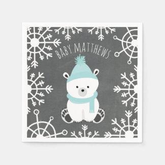 Polar Bear Winter Boy Baby Shower Napkins