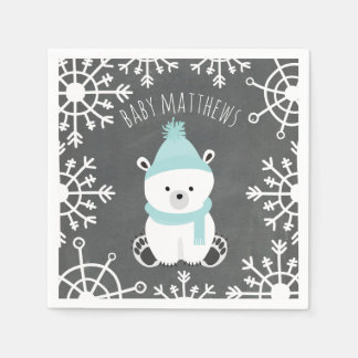 Polar Bear Winter Boy Baby Shower Napkins Paper Napkins
