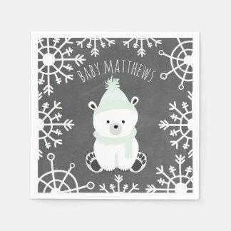 Polar Bear Winter Neutral Baby Shower Napkins Paper Napkins