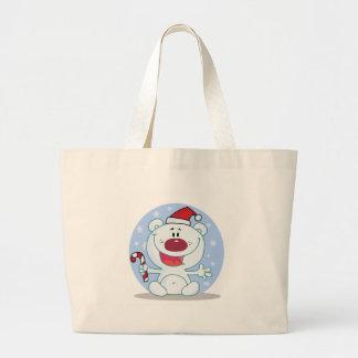 Polar  Bear With Candy Cane Holiday Tshirts Jumbo Tote Bag