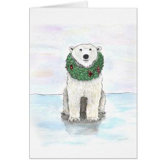 Polar Bear with Holiday Wreath Card