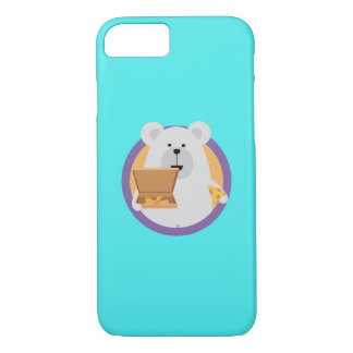 Polar Bear with Pizza in cirlce Q1Q iPhone 8/7 Case