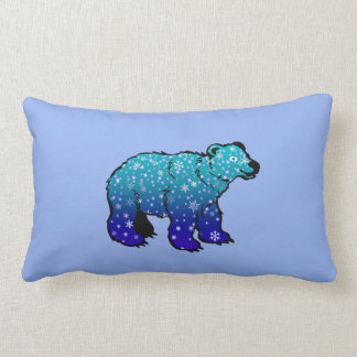 Polar Bear with Snowflakes Pillow