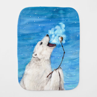 Polar Bear with Toasted Marshmallow Burp Cloth
