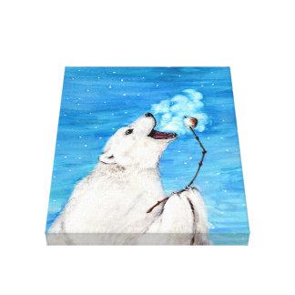 Polar Bear with Toasted Marshmallow Canvas Print