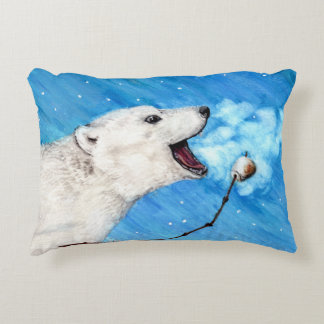 Polar Bear with Toasted Marshmallow Decorative Pillow