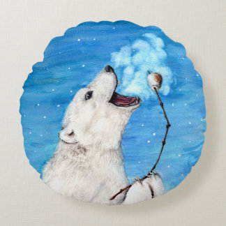 Polar Bear with Toasted Marshmallow Round Pillow