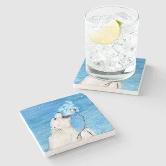 Polar Bear with Toasted Marshmallow Stone Coaster