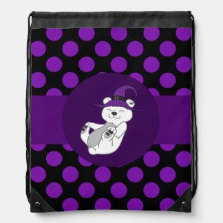 Polar Bear with Witch Hat & Purple Dots Drawstring Bag