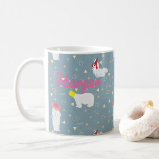 Polar Bears '80s Geometric Pattern Gray Mug