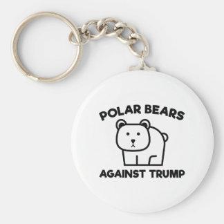 Polar Bears Against Trump Basic Round Button Keychain