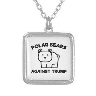 Polar Bears Against Trump Silver Plated Necklace