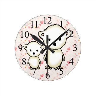 Polar Bears and Hearts Kids Wall Clock