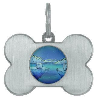 Polar Bears and Northern Lights Pet ID Tag