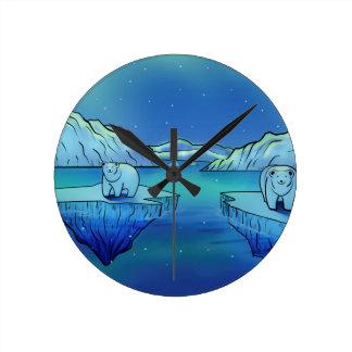 Polar Bears and Northern Lights Wall Clocks