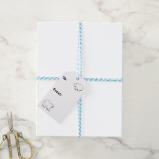 Polar Bears and Snowflakes Turquoise and White Gift Tags
