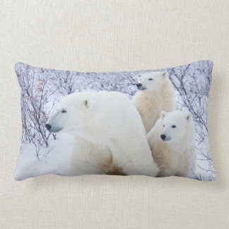 Polar Bears and Two cubs Lumbar Pillow