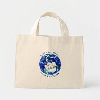 polar bears mini tote bag