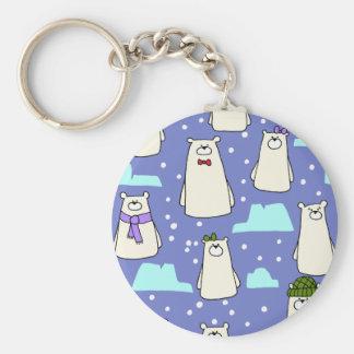 polar bears basic round button keychain