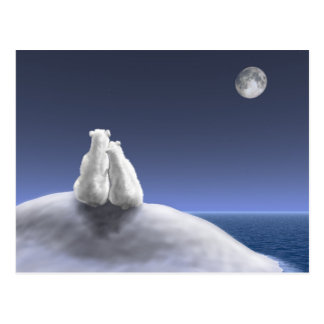 Polar Bears by Moonlight Postcard