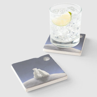 Polar Bears by Moonlight Stone Coaster
