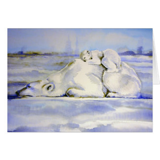 Polar Bears Card Mama and Cub Sleeping