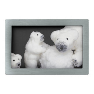Polar bears family figurines playing with snowball belt buckles