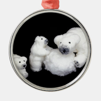 Polar bears family figurines playing with snowball Silver-Colored round ornament