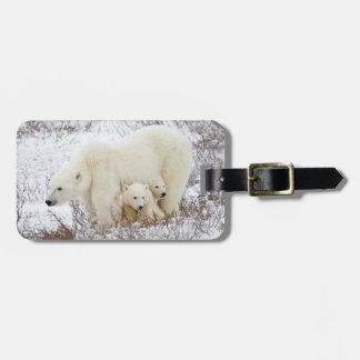 Polar Bears female and Two cubs Luggage Tag