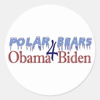 Polar Bears for Obama Biden 2008 Round Sticker