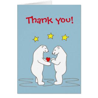 Polar Bears giving Heart and Yellow Stars Card