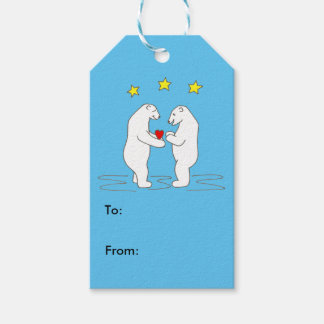 Polar Bears giving Heart and Yellow Stars Gift Tag Pack Of Gift Tags