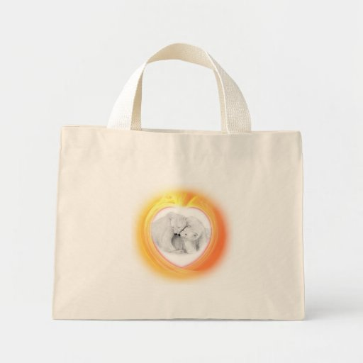 Polar Bears in a Heart Tote Bag