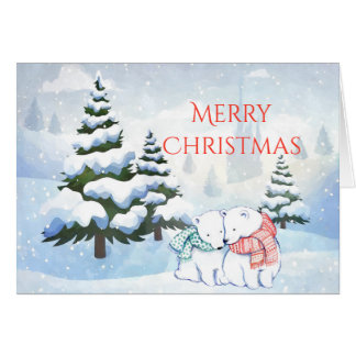 Polar Bears in Winter Christmas Card