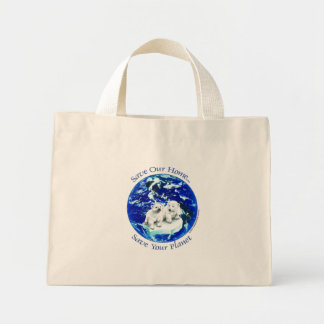 polar bears mini tote bag