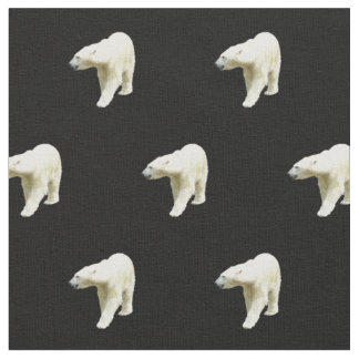 Polar Bears on Black Fabric