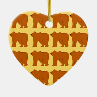 Polar bears on Gold Ceramic Ornament