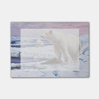 Polar Bears on Ice Floes Art Post-it Notes