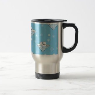 Polar bears on icebergs 15 oz stainless steel travel mug