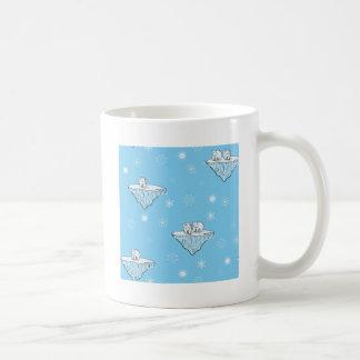 Polar bears on icebergs coffee mug