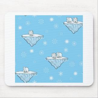 Polar bears on icebergs mouse pad